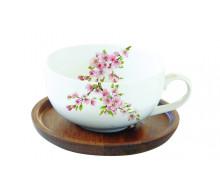 Filiżanka z drewnianą podstawką Sakura Easy Life, 250 ml