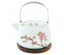 Dzbanek do herbaty z drewnianą podstawką Sakura Easy Life, 750 ml