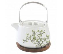 Dzbanek do herbaty z drewnianą podstawką Natura Easy Life, 750 ml