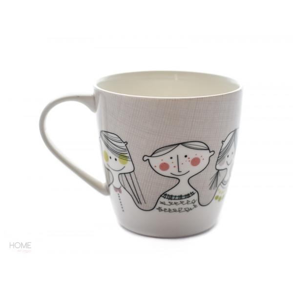 Kubek porcelanowy z buźką beżowy Sandra Isaksson