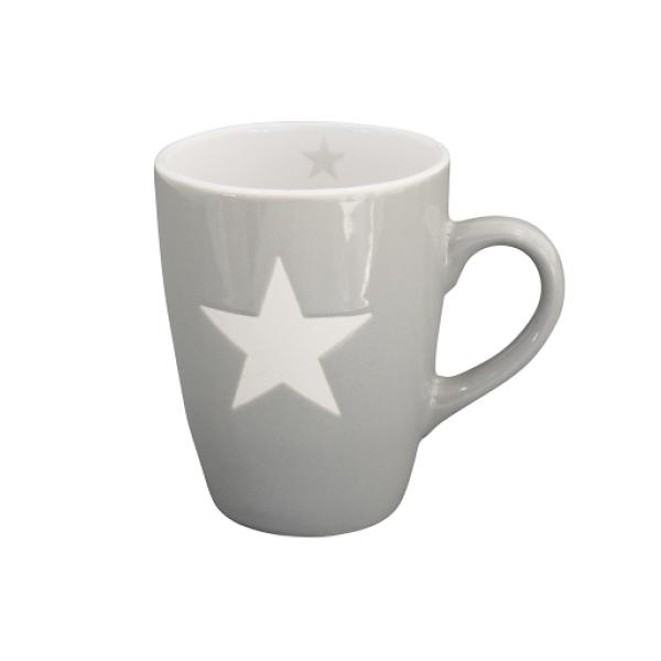 Kubek ceramiczny jasnoszary z gwiazdką
