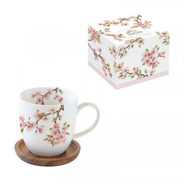 kubek porcelanowy z drewnianą podstawką Sakura