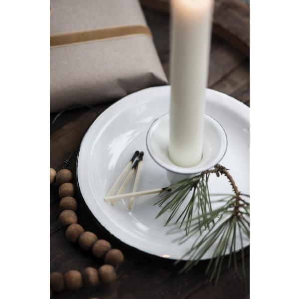 Świecznik emaliowany biały Ib Laursen