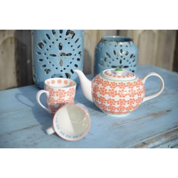 kubki porcelanowe orange/blue